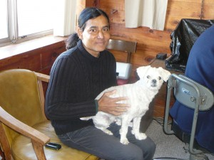 Badal Roy, owner and Chato, motel dog